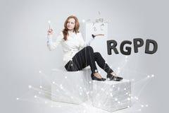 RGPD, испанский язык, француз и итальянская версия версии GDPR: Datos Reglamento Генерала de Proteccion de Общие данные стоковые фото