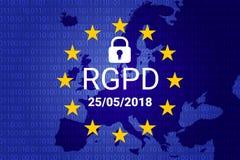 RGPD es GDPR: relación general de la protección de datos en francés, italiano, español Vector libre illustration