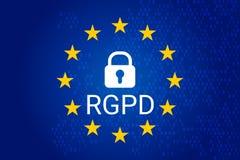 RGPD es GDPR: relación general de la protección de datos en francés, italiano, español Vector ilustración del vector
