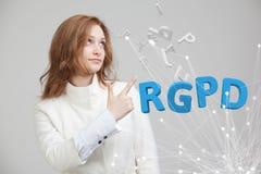 RGPD, hiszpańszczyzn, francuza i włoszczyzny wersi wersja GDPR: Reglamento Ogólny De Proteccion de datos Ogólni dane zdjęcia stock