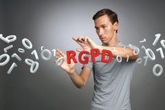 RGPD, hiszpańszczyzn, francuza i włoszczyzny wersi wersja GDPR: Reglamento Ogólny De Proteccion de datos Ogólni dane obrazy stock