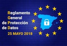 RGPD - Spaanse tekst: Reglamento General DE Proteccion DE Datos GDPR - Algemene Gegevensbeschermingverordening De kaart van Spanj Royalty-vrije Stock Afbeeldingen