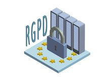 RGPD-, spanische und italienischeversionsversion von GDPR, Regolamento-generale Esparsette protezione dei dati Konzept isometrisc stock abbildung