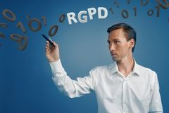 RGPD, Spanish, French and Italian version version of GDPR: Reglamento General de Proteccion de datos. General Data Royalty Free Stock Image