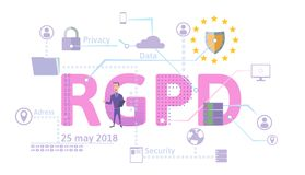 RGPD, Spanish and Italian version version of GDPR. General Data Protection Regulation. Concept illustration. The. RGPD, german version of GDPR. General Data Royalty Free Stock Photos