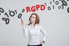 RGPD, spanjor, franska och italiensk versionversion av GDPR: Reglamento Allmän de Proteccion de datos Allmänna data royaltyfria foton