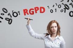 RGPD, spanjor, franska och italiensk versionversion av GDPR: Reglamento Allmän de Proteccion de datos Allmänna data Royaltyfri Foto