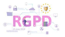 RGPD, spanjor och italiensk versionversion av GDPR Reglering för skydd för allmänna data framförd illustrationbild för begrepp 3d Royaltyfria Foton