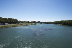 Rhône river seen from Pont Saint-Bénézet, Avignon, France Royalty Free Stock Photography