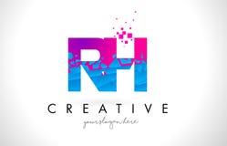 RH R H与被打碎的打破的蓝色桃红色纹理Desig的信件商标 库存图片