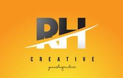RH R H信件现代商标设计有黄色背景和Swoo 图库摄影