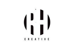 RH R H白色信件商标设计有圈子背景 免版税图库摄影