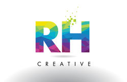 RH R H Colorful Letter Origami Triangles Design Vector. Stock Photography