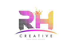 RH R H Letter Logo Design with Magenta Dots and Swoosh Stock Photography