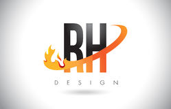RH R H Letter Logo with Fire Flames Design and Orange Swoosh. RH R H Letter Logo Design with Fire Flames and Orange Swoosh Vector Illustration Stock Image