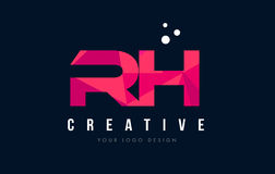 RH R H Letter Logo with Purple Low Poly Pink Triangles Concept Stock Images
