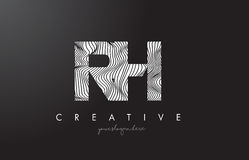 RH R H Letter Logo with Zebra Lines Texture Design Vector. Stock Images