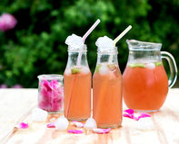 Rhabarberhibiscuseistee mit den rosafarbenen Blumenblättern im Garten Lizenzfreie Stockbilder