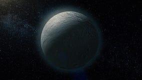 Rhea, mid-sized moon of Saturn on space bacground mid-sized moon of Saturn. 3d rendering. Rhea moon of Saturn