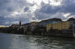 Rhein Bank. Cloudy day in Basel. Pictured is a building-complex on the Rhein bank Royalty Free Stock Photo