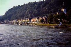 Rhein flod, Oberwesel, Tyskland Royaltyfri Fotografi