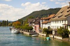 Rhein River in Stein Am Rhein Village. Switzerland royalty free stock image