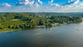 Rhein sikt från ovannämnda Tyskland royaltyfria bilder