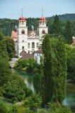 Rheinau Abbey across Rhine, Switzerland Royalty Free Stock Photography