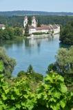 Rheinau Abbey across Rhine, Switzerland Royalty Free Stock Images