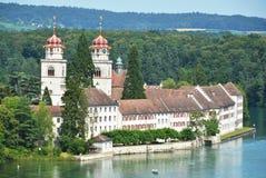 Rheinau Abbey across Rhine, Switzerland Stock Images
