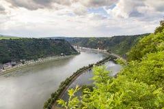 Rheinblick vom Loreley Felsen  Rhine valley Landscape  Sankt Goa Stock Photos