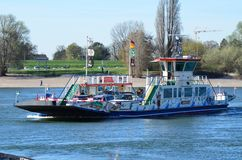 Rheinfähre Michaela II. Düsseldorf, Nrw,  Germany - March 20, 2014: Ferry Michaela II of Rheinfährbetrieb Schäfer GmbH in Dusseldorf connects Kaiserwerth Stock Image