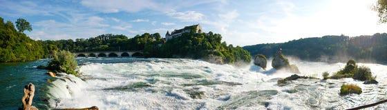 Rheinfall瀑布全景 库存图片