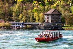 Βάρκα 2 παρατήρησης Rheinfall Στοκ Εικόνες