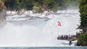 RHEINFALLS,瑞士- 2015年7月25日:对最大的wat的看法 免版税库存照片