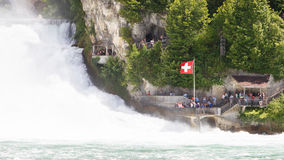 RHEINFALLS,瑞士- 2015年7月25日:对最大的wat的看法 图库摄影