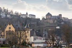 rheinfels de burg Rhénanie Allemagne pendant l'hiver images libres de droits