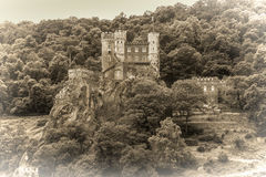 Rheinstein castle on the Rhine River, Germany Royalty Free Stock Images