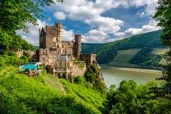 Rheinstein Castle at Rhine Valley Rhine Gorge in Germany. Built in 1316 and rebuilt in 1825-1844 stock images