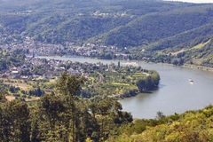 Rheintal,Germany - View from Jakobsberg. RHEINTAL, GERMANY - AUGUST 07: View from Jakobsberg on water transport artery Rhein, in background nationally recognized Stock Photos