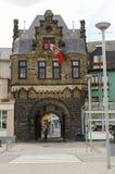 Rheintor city gate in Rhine embankment of medieval town Anderna Stock Image