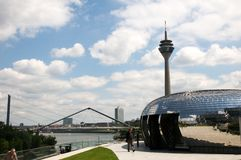 Rheinturm  in Duesseldorf - TV tower on the river Royalty Free Stock Photography