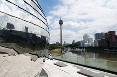 Rheinturm  in Duesseldorf - TV tower on the river Royalty Free Stock Photos
