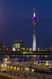 Rheinturm in evening, Dusseldorf, Germany Royalty Free Stock Photo