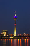 Rheinturm tower Dusseldorf at night Royalty Free Stock Photos
