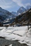 Rhemes valley and Granta Parey mountain in winter, Aosta, Italy Stock Photo