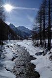 Rhemes valley and Granta Parey mountain in winter, Aosta, Italy Royalty Free Stock Photos