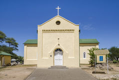 Rhenish Mission Church. Lutheran Church with War graves cemetery, build in 1870 (Rhenish Mission Church) in Okahandja, Namibia. National Monument of Namibia stock photo