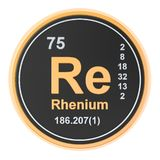 Rhenium Re chemical element. 3D rendering. Isolated on white background royalty free illustration