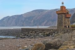 Rhenish tower, Lynmouth, Devon. The Rhenish tower, originally built in the 1850` s by General Rawdon to store salt water. The tower was badly damaged by floods stock photos